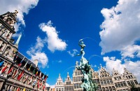The Brabo Fontein (fountain) at Grote Markt in front of Town Hall. Antwerp. Belgium