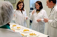 Frozen food industry, food tasters tasting potato balls of rival firms. Navarre. Spain