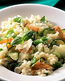 Risotto Italiano with courgettes, basil, ham and Parmesan
