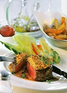 Fillet steak with mustard crust, cut into
