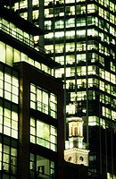 Office buildings at night, The City, London, England