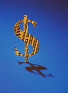 Dollar Sign Printed with Stock Listings, Blue Background