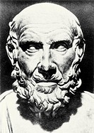 Hippocrates. Bust of the philosopher and physician Hippocrates (c.460-c.370BC), father of medicine´. Hippocrates was born and lived on the Greek islan...