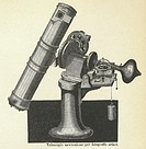 Newtonian telescope. Historical illustration of a Newtonian telescope used for photographing the Sun. A Newtonian telescope uses a mirror rather than ...