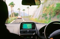 Car with Navigation System on a Road