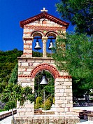 Bell tower of Panagia Theotokou church at Boura monastery. Arcadia, Peloponnese. Greece