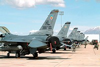 F-16 aircrafts preparing for training sorties