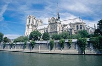 Notre Dame cathedral from Seine River (lateral facade). Paris. France