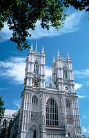 West facade of Westminster Abbey, built in Gothic style. London. England