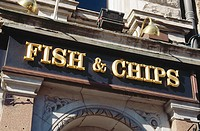 Sign on shop 'Fish & chips'. Dublin. Ireland