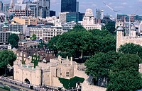 Financial district and the Tower of London. London. England