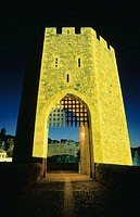 Toll tower at medieval bridge of Besalú, built in XI century. Girona province. Spain