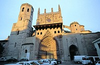 Facade of the cathedral, built in gothic style. Huesca. Spain