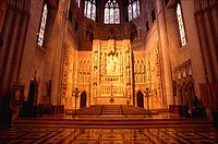 Choir and sanctuary. Washington National Cathedral (1893), built in the 14th-century English Gothic style. Washington D.C. USA