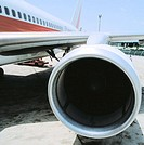 Close-up of aircraft engine at airport. Lanzarote. Canary Islands. Spain
