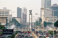 Jalan M.H. Thamrin Avenue and Welcome monument. Jakarta. Java. Indonesia