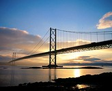 Forth Road Bridge at sunset, near Edinburgh. Scotland