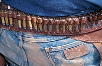 Close up on a Cowboy cartridges belt. Wyoming. USA