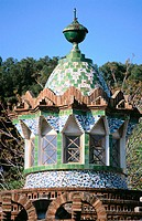 Lantern of pavillion at the Güell Estate (Gaudí, 1880's). Barcelona. Spain