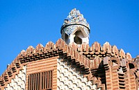 Roof of pavillion at the Güell Estate (Gaudí, 1880's). Barcelona. Spain