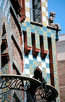 Detail of the facade of Vicens House (Gaudí, 1878-1880). Barcelona. Spain