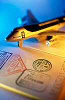 Passport and airplane