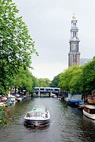 Westerkerk seen down Prinsengracht. Amsterdam. Holland