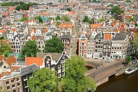 Aerial view over Prinsengracht. Amsterdam. Holland