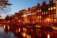Canal houses at night. Amsterdam. Holland