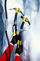Detail of ice climbing