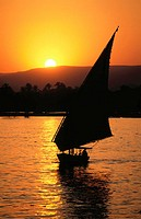 Felucca on Nile River. Egypt