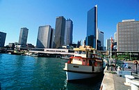Ferry at Circular Quay with Central Business District in background. Sydney, Australia