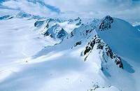 Ski runs near Sölden village. Alps, Tirol. Austria