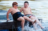 Friends enjoying the water