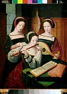 Three Female Musicians 16th Century Artist Unknown