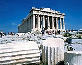Tourists at a temple, Parthenon, Acropolis, Athens, Greece
