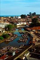 Boats at Melaka River, Malaysia.
