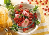 Grappa & raspberry sorbet in bowl with raspberries and mint