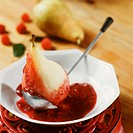 Poached pear with raspberry sauce (2)