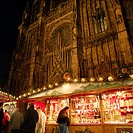 Christmas market in front of the cathedral. Strasbourg, Alsace. France