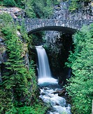Stone bridge over Christine Falls. Mount Rainier National Park. Washington. USA