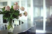 Bunch of Flowers on Reception Desk - Reception Area - Office