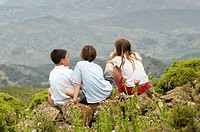Children at Sierra Blanca, Sierra de las Nieves Natural Park. Málaga province. Spain