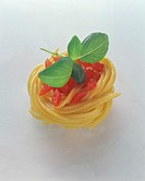 A spaghetti nest with diced tomatoes and basil (2)