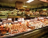 Sausage section in an Austrian delicatessen