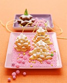 Sweet pastry biscuit in shape of fir tree