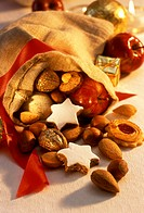 Biscuits, nuts and apple in Santa´s sack (1)