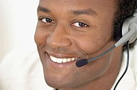 Close-up black man, Telemarketing