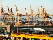 Docks and cranes at port. Barcelona. Spain