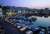 Night time, Kyrenia Harbour, Kyrenia, Turkish Cyprus